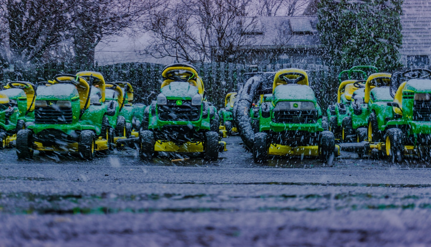 Snowing with lawn mowers